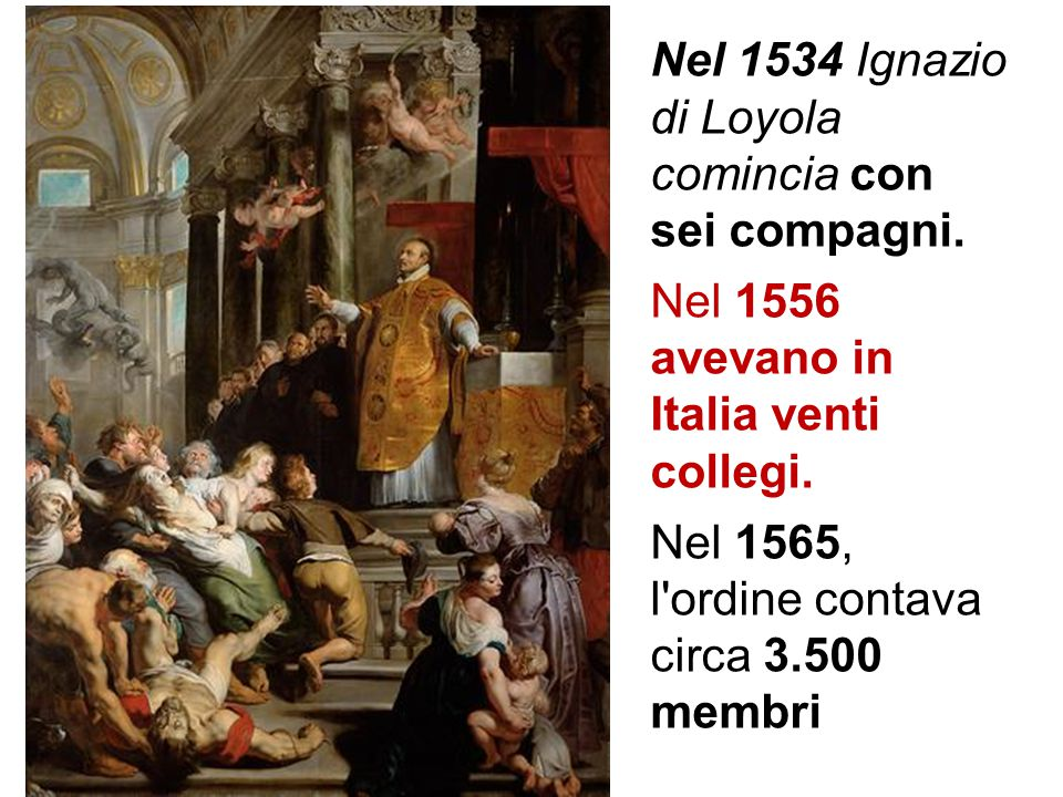 Nel 1534 Ignazio di Loyola comincia con sei compagni. Nel 1556 avevano in Italia venti collegi. Nel 1565, l'ordine contava circa 3.500 membri