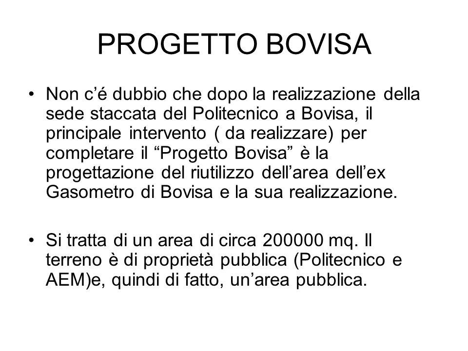 PROGETTO BOVISA Non c'é dubbio che dopo la realizzazione della sede staccata del Politecnico a Bovisa, il principale intervento ( da realizzare) per completare il Progetto Bovisa è la progettazione del riutilizzo dell'area dell'ex Gasometro di Bovisa e la sua realizzazione.