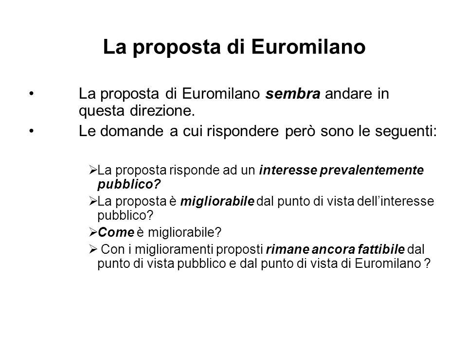 La proposta di Euromilano sembra andare in questa direzione.