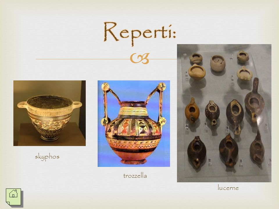   Nelle tombe maschili troviamo oggetti che alludono ai tre principali aspetti del mondo virile: il 'banchetto', o meglio il consumo del vino (il cr