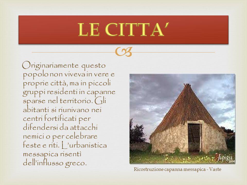   I Messapi furono un'antica popolazione italica stanziatasi nella Messapia, in un territorio corrispondente alla Murgia meridionale e al Salento (p