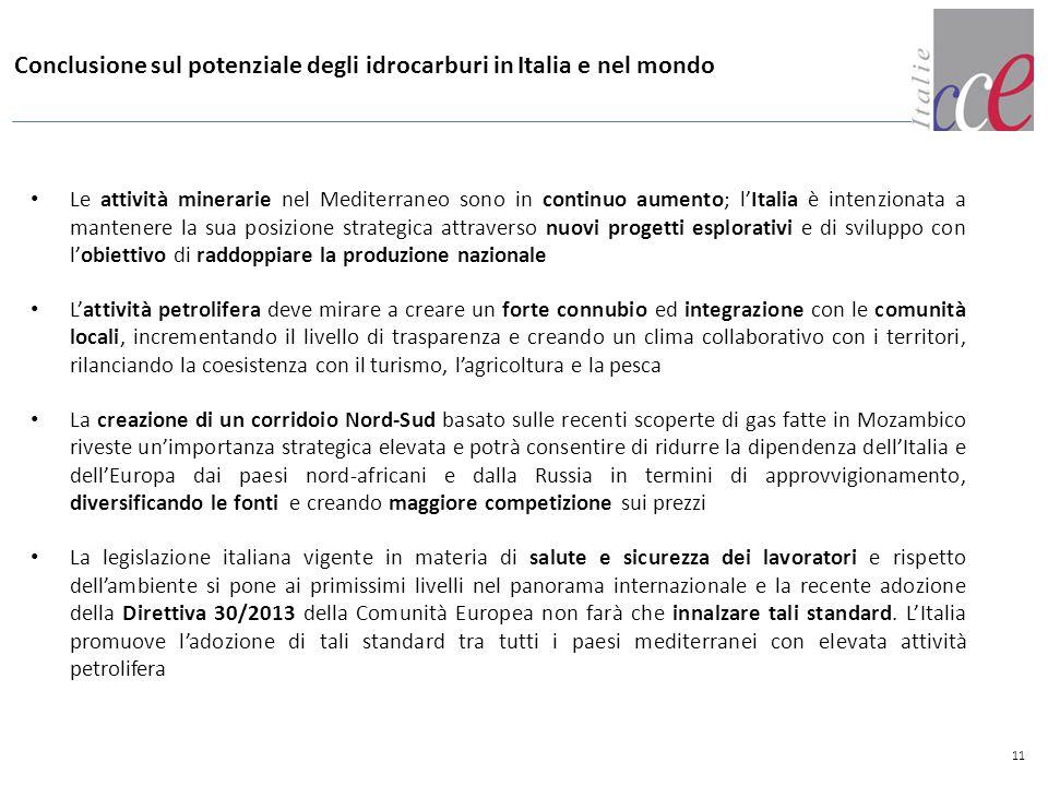 11 Conclusione sul potenziale degli idrocarburi in Italia e nel mondo Le attività minerarie nel Mediterraneo sono in continuo aumento; l'Italia è inte