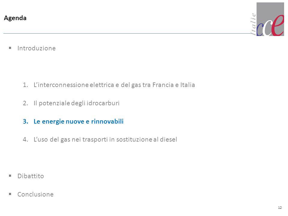 Agenda  Introduzione 1.L'interconnessione elettrica e del gas tra Francia e Italia 2.Il potenziale degli idrocarburi 3.Le energie nuove e rinnovabili