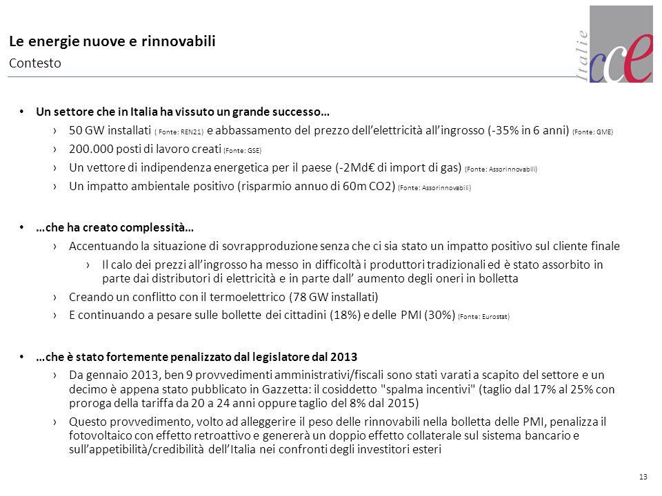 13 Le energie nuove e rinnovabili Contesto Un settore che in Italia ha vissuto un grande successo… ›50 GW installati ( Fonte: REN21) e abbassamento de