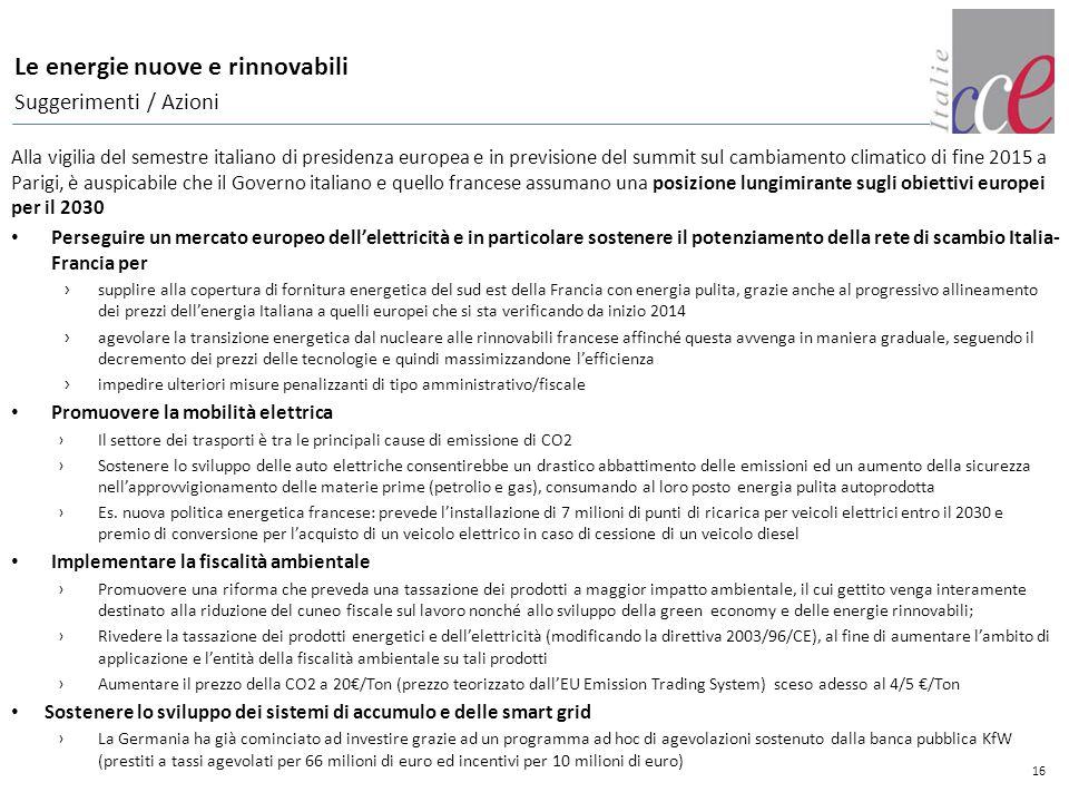 16 Le energie nuove e rinnovabili Suggerimenti / Azioni Alla vigilia del semestre italiano di presidenza europea e in previsione del summit sul cambia