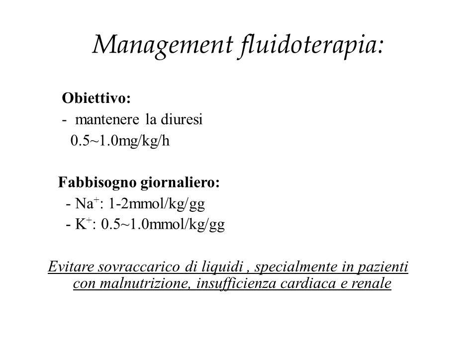Management fluidoterapia: Obiettivo: - mantenere la diuresi 0.5~1.0mg/kg/h Fabbisogno giornaliero: - Na + : 1-2mmol/kg/gg - K + : 0.5~1.0mmol/kg/gg Ev