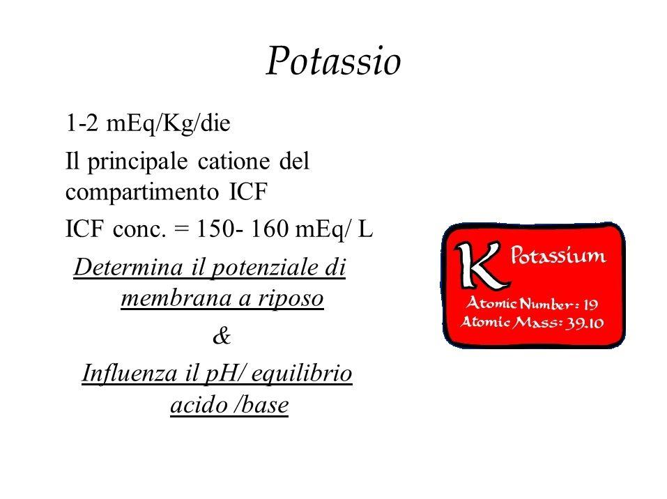 Potassio 1-2 mEq/Kg/die Il principale catione del compartimento ICF ICF conc. = 150- 160 mEq/ L Determina il potenziale di membrana a riposo & Influen