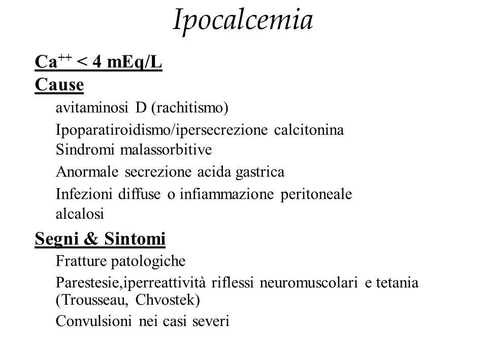 Ipocalcemia Ca ++ < 4 mEq/L Cause avitaminosi D (rachitismo) Ipoparatiroidismo/ipersecrezione calcitonina Sindromi malassorbitive Anormale secrezione