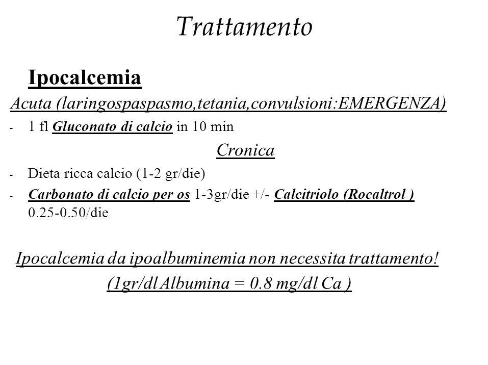 Trattamento Ipocalcemia Acuta (laringospaspasmo,tetania,convulsioni:EMERGENZA) - 1 fl Gluconato di calcio in 10 min Cronica - Dieta ricca calcio (1-2