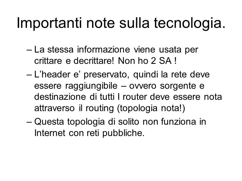 Importanti note sulla tecnologia. –La stessa informazione viene usata per crittare e decrittare.