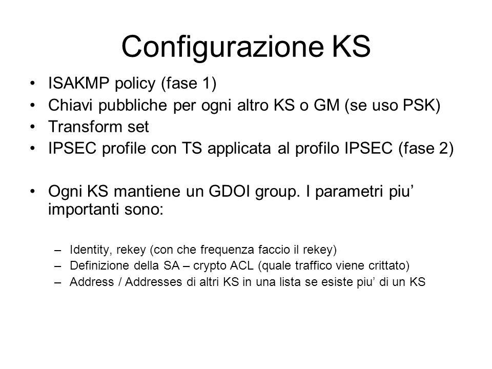 Configurazione GM Isakmp policy (fase 1) Chiavi Isakmp per il KS (se uso PSK) Transform set Applicata la TS ad un profilo IPSEC Definizione del gruppo GDOI –Numero ID, indirizzo/i del KS Applico il gruppo ad una crypto MAP Applico la crypto MAP all'interfaccia