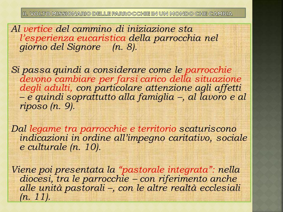 Al vertice del cammino di iniziazione sta l'esperienza eucaristica della parrocchia nel giorno del Signore (n. 8). Si passa quindi a considerare come