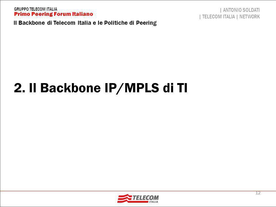 12 Il Backbone di Telecom Italia e le Politiche di Peering | ANTONIO SOLDATI | TELECOM ITALIA | NETWORK Primo Peering Forum Italiano GRUPPO TELECOM IT