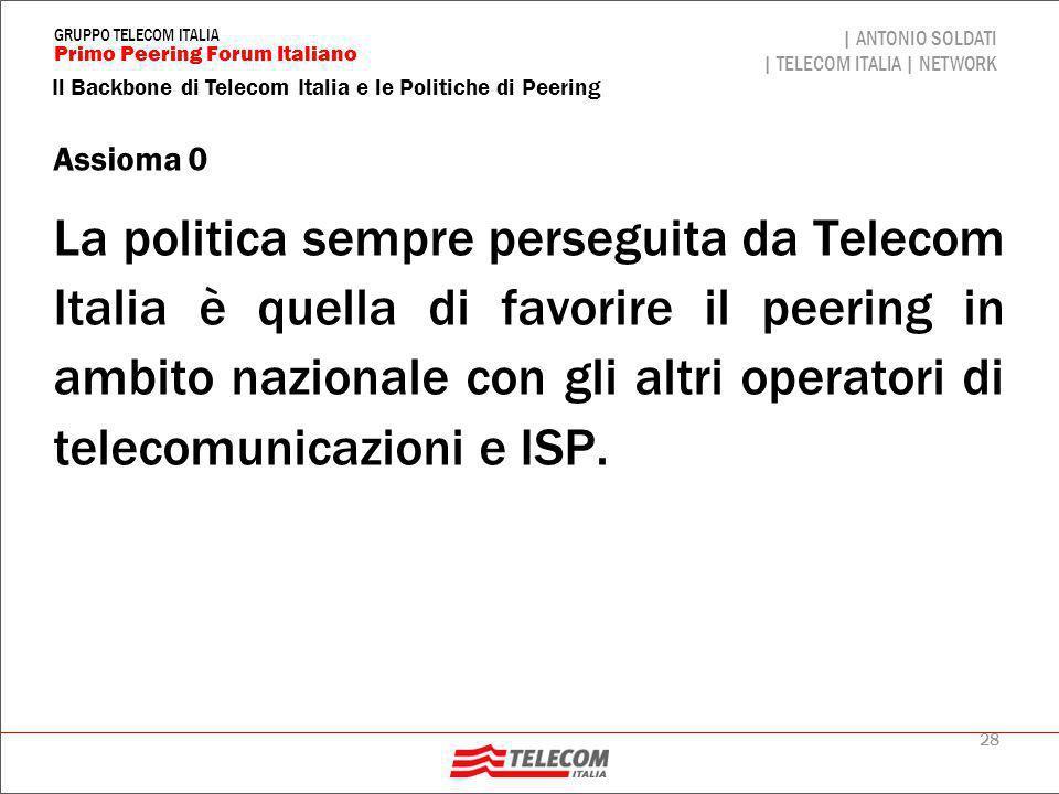 28 Il Backbone di Telecom Italia e le Politiche di Peering | ANTONIO SOLDATI | TELECOM ITALIA | NETWORK Primo Peering Forum Italiano GRUPPO TELECOM IT