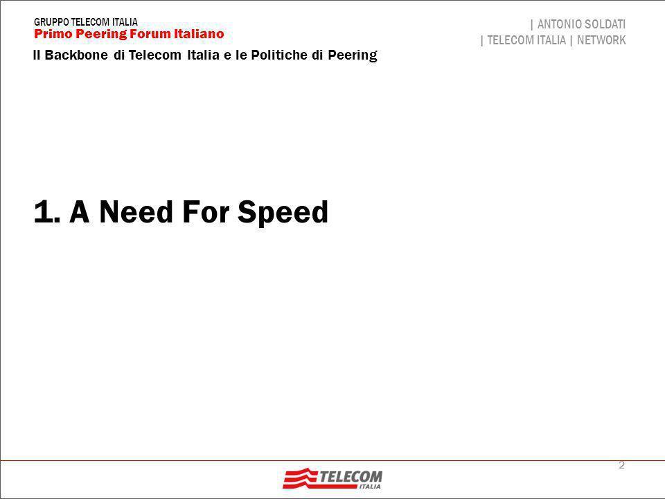 3 Il Backbone di Telecom Italia e le Politiche di Peering | ANTONIO SOLDATI | TELECOM ITALIA | NETWORK Primo Peering Forum Italiano GRUPPO TELECOM ITALIA Network bandwidth Bandwidth development is going to reach a Moore Law slope