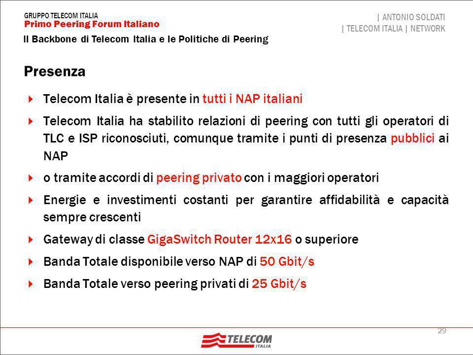 29 Il Backbone di Telecom Italia e le Politiche di Peering | ANTONIO SOLDATI | TELECOM ITALIA | NETWORK Primo Peering Forum Italiano GRUPPO TELECOM IT