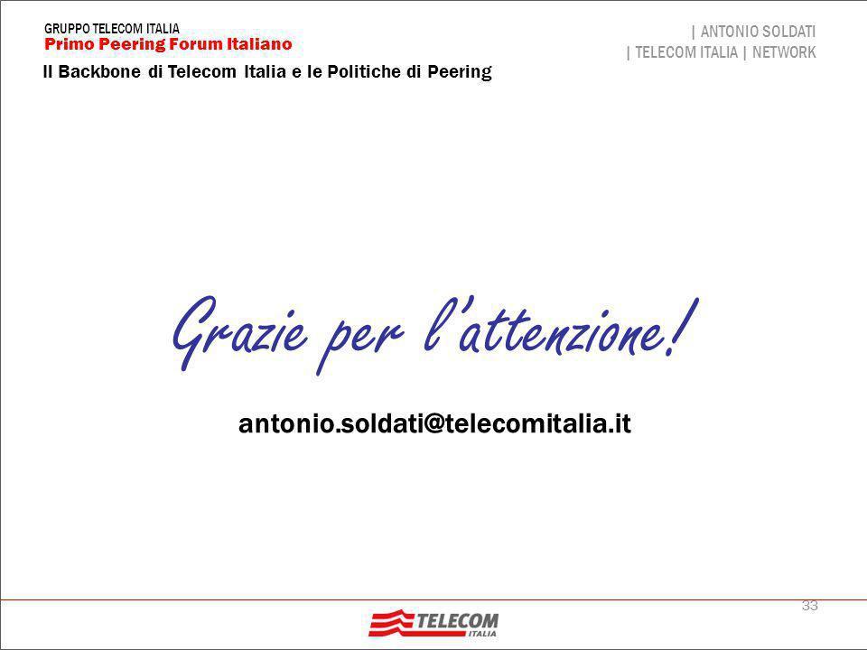 33 Il Backbone di Telecom Italia e le Politiche di Peering | ANTONIO SOLDATI | TELECOM ITALIA | NETWORK Primo Peering Forum Italiano GRUPPO TELECOM IT