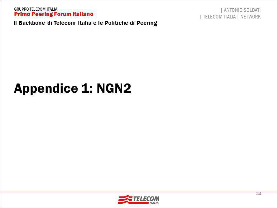 34 Il Backbone di Telecom Italia e le Politiche di Peering | ANTONIO SOLDATI | TELECOM ITALIA | NETWORK Primo Peering Forum Italiano GRUPPO TELECOM IT