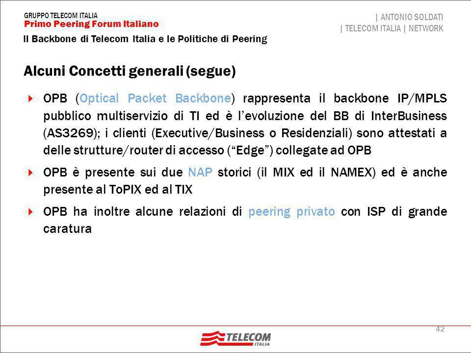 42 Il Backbone di Telecom Italia e le Politiche di Peering | ANTONIO SOLDATI | TELECOM ITALIA | NETWORK Primo Peering Forum Italiano GRUPPO TELECOM IT