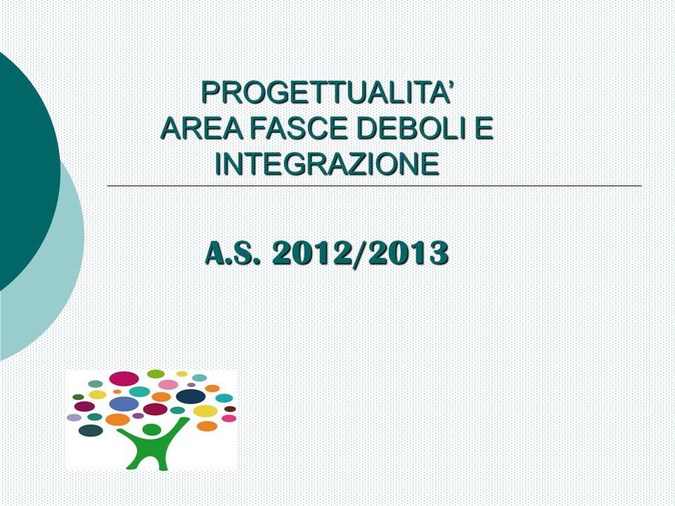 PROGETTUALITA' AREA FASCE DEBOLI E INTEGRAZIONE A.S. 2012/2013