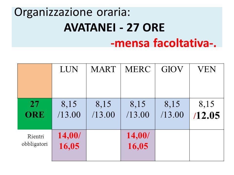 Organizzazione oraria: AVATANEI - 27 ORE -mensa facoltativa-.