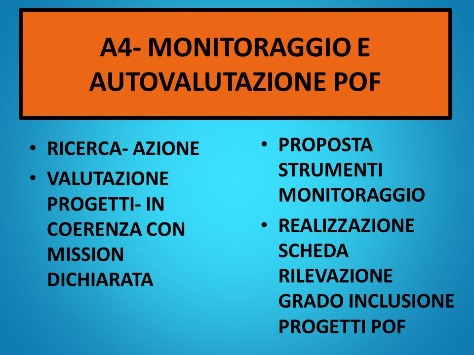 A3-ISTITUZIONE DEL COMINATO DI AUTOVALUTAZIONE ISTITUITO COME DA PROGRAMMAZIONE EFFETTUATO UN SOLO INCONTRO DEI TRE PREVISTI