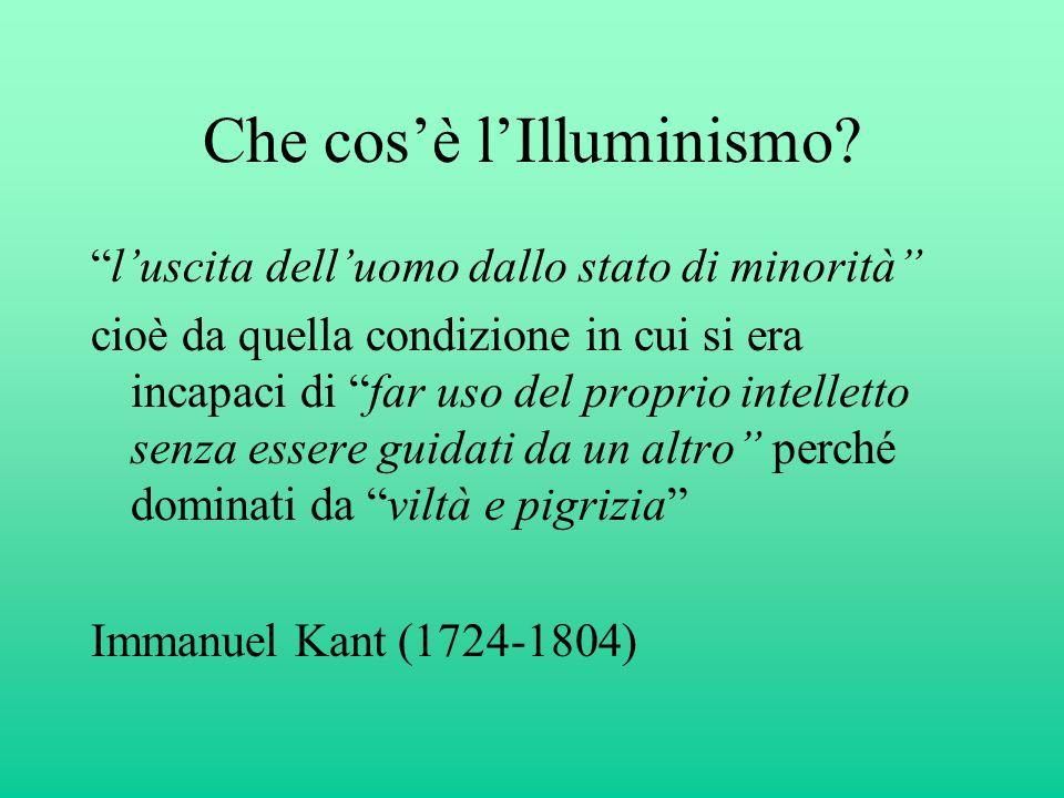 """Che cos'è l'Illuminismo? """"l'uscita dell'uomo dallo stato di minorità"""" cioè da quella condizione in cui si era incapaci di """"far uso del proprio intelle"""