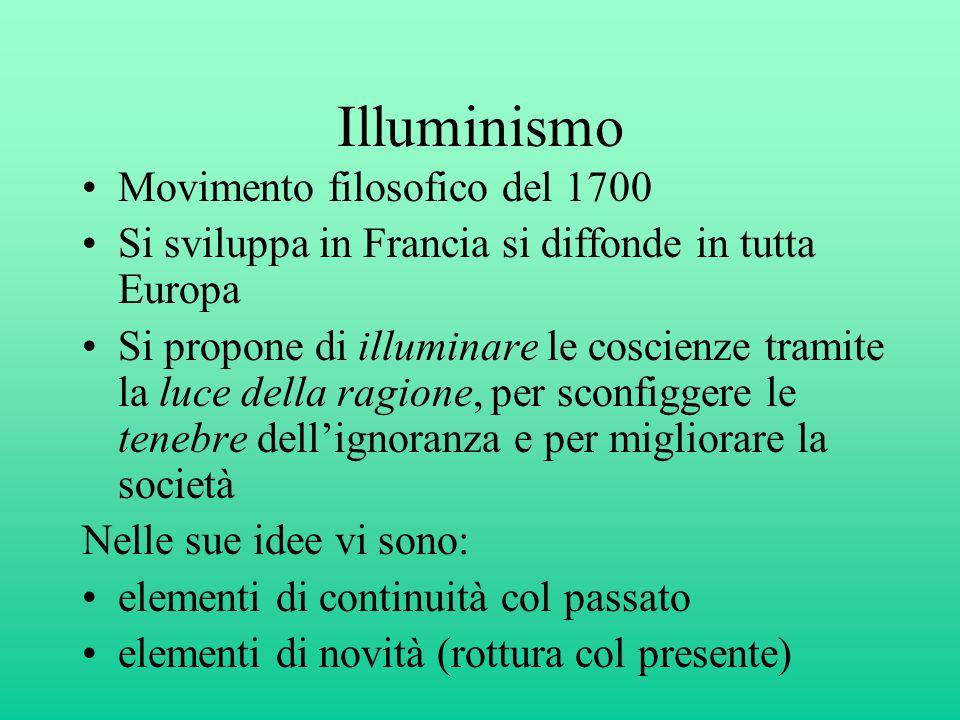 Illuminismo Movimento filosofico del 1700 Si sviluppa in Francia si diffonde in tutta Europa Si propone di illuminare le coscienze tramite la luce del