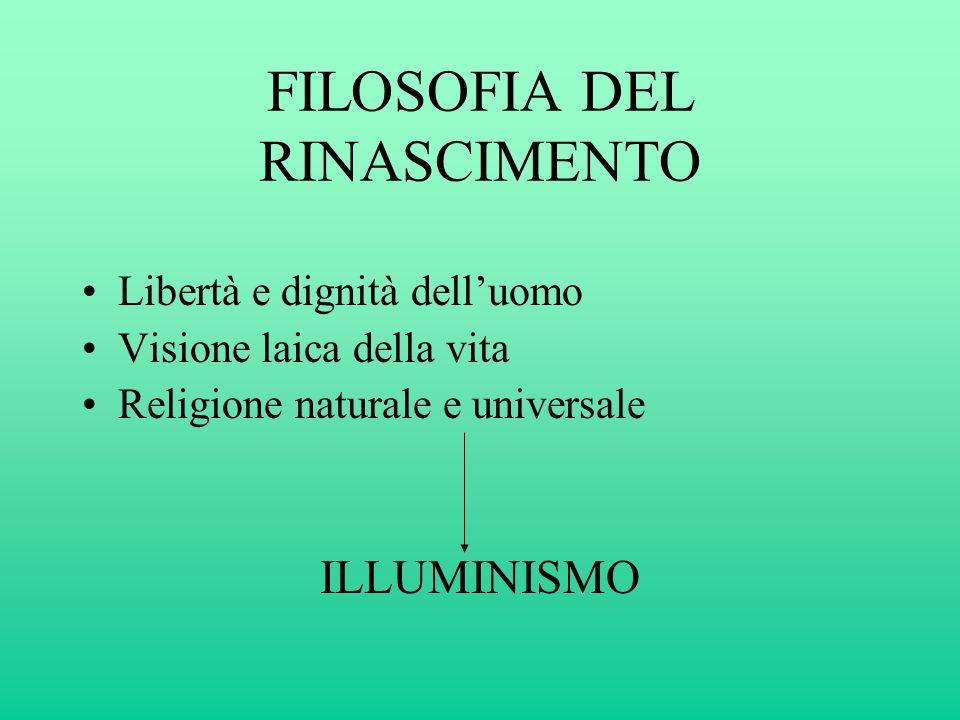FILOSOFIA DEL RINASCIMENTO Libertà e dignità dell'uomo Visione laica della vita Religione naturale e universale ILLUMINISMO