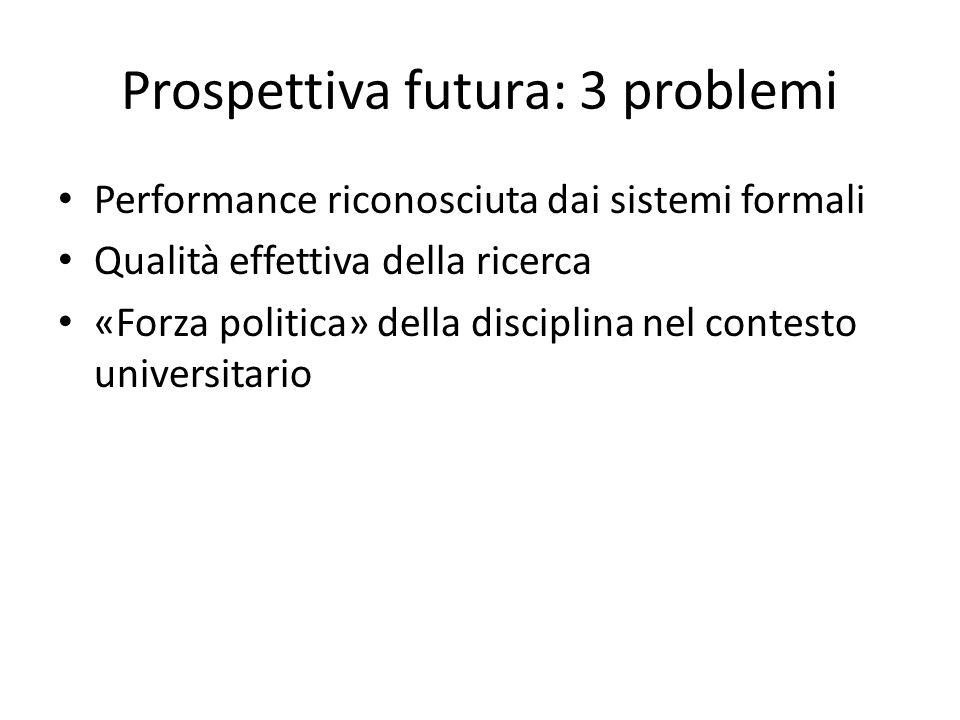 Prospettiva futura: 3 problemi Performance riconosciuta dai sistemi formali Qualità effettiva della ricerca «Forza politica» della disciplina nel contesto universitario