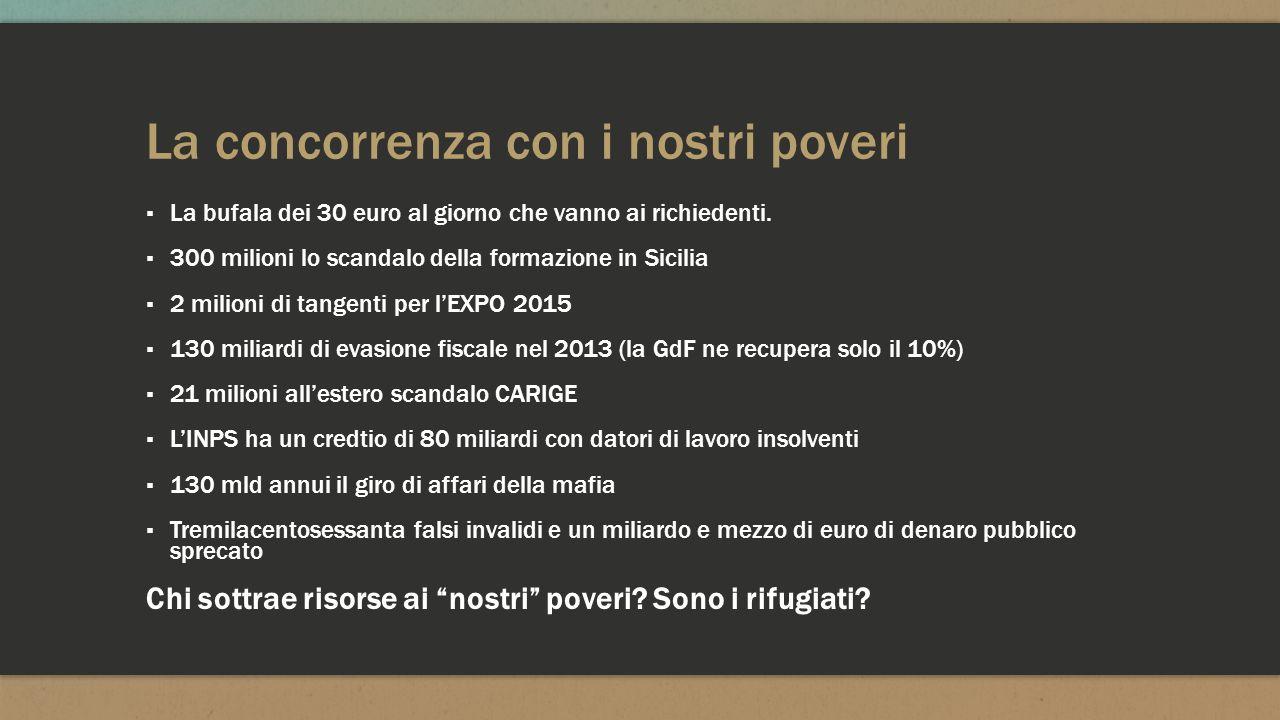 La concorrenza con i nostri poveri ▪ La bufala dei 30 euro al giorno che vanno ai richiedenti. ▪ 300 milioni lo scandalo della formazione in Sicilia ▪