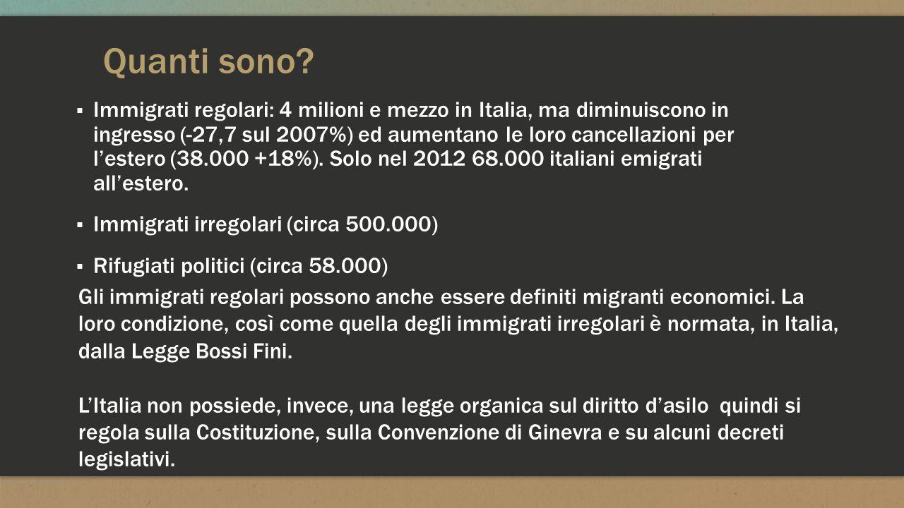 Quanti sono? ▪ Immigrati regolari: 4 milioni e mezzo in Italia, ma diminuiscono in ingresso (-27,7 sul 2007%) ed aumentano le loro cancellazioni per l