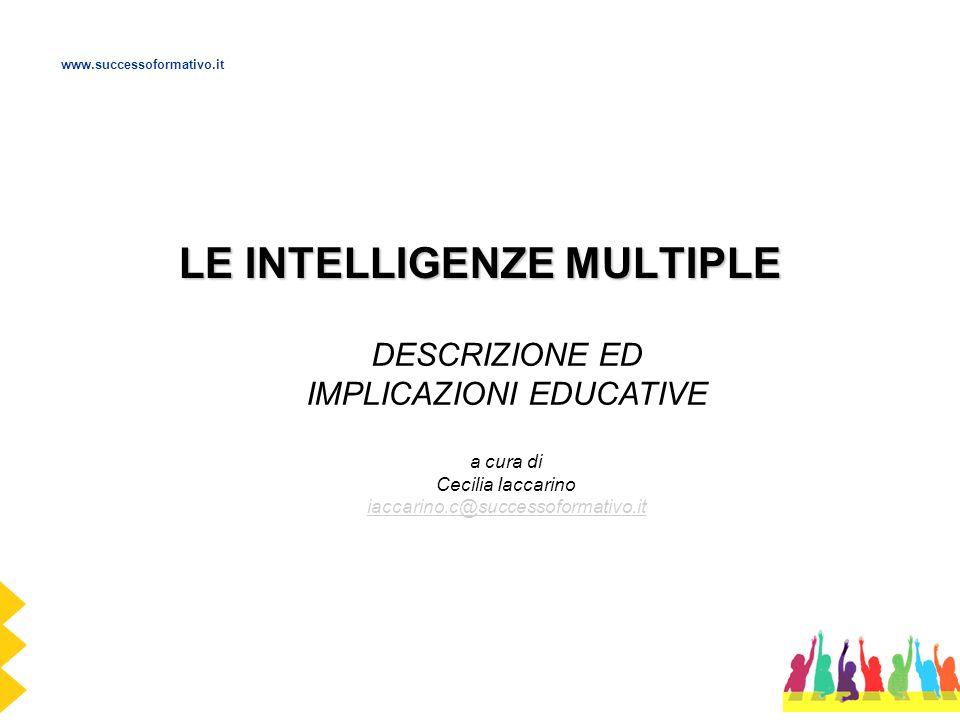 LE INTELLIGENZE MULTIPLE DESCRIZIONE ED IMPLICAZIONI EDUCATIVE a cura di Cecilia Iaccarino iaccarino.c@successoformativo.it iaccarino.c@successoformat