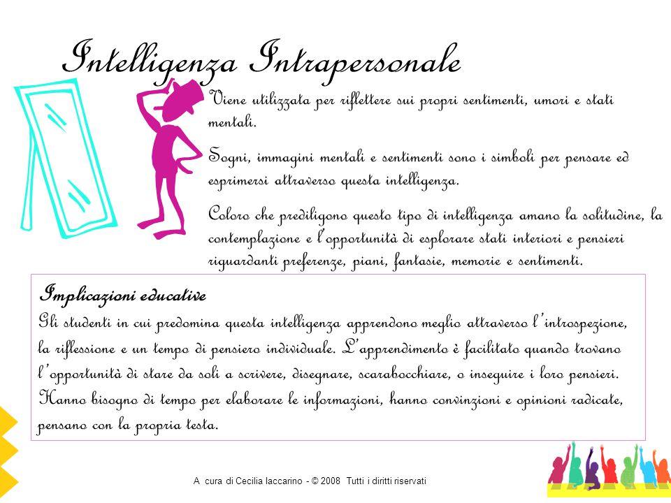 A cura di Cecilia Iaccarino - © 2008 Tutti i diritti riservati Intelligenza Intrapersonale Viene utilizzata per riflettere sui propri sentimenti, umor