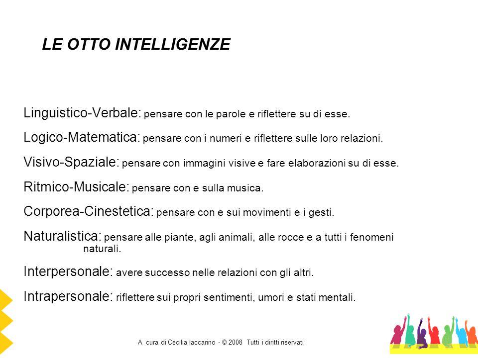 A cura di Cecilia Iaccarino - © 2008 Tutti i diritti riservati Linguistico-Verbale: pensare con le parole e riflettere su di esse. Logico-Matematica: