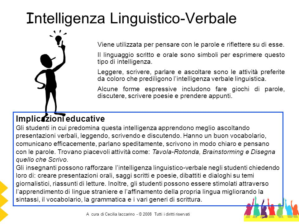 A cura di Cecilia Iaccarino - © 2008 Tutti i diritti riservati I ntelligenza Linguistico-Verbale Viene utilizzata per pensare con le parole e riflette