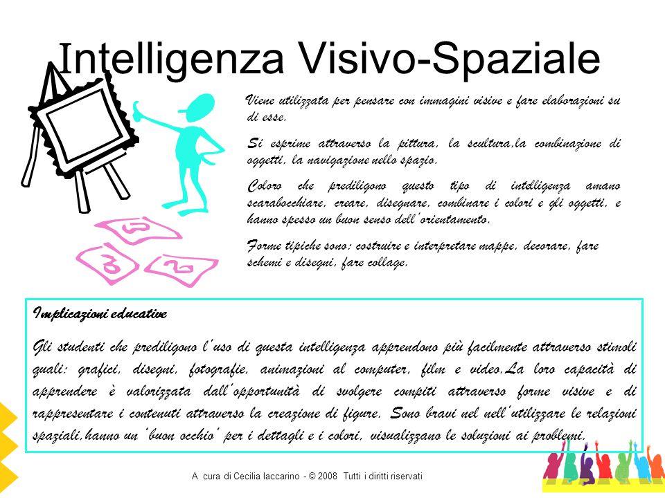 A cura di Cecilia Iaccarino - © 2008 Tutti i diritti riservati I ntelligenza Visivo-Spaziale Viene utilizzata per pensare con immagini visive e fare e
