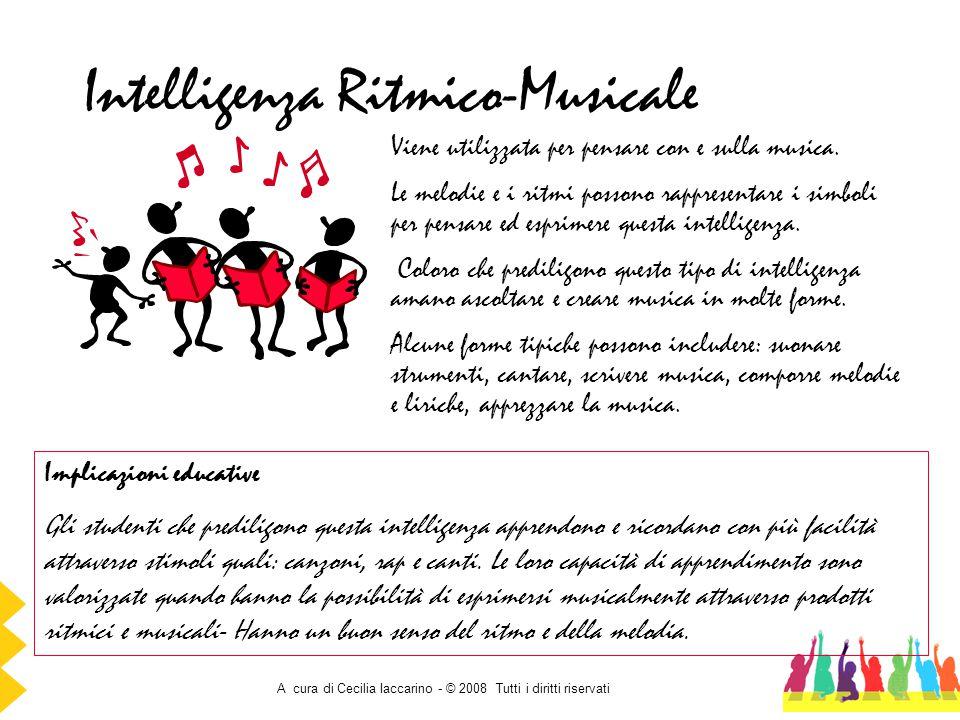 A cura di Cecilia Iaccarino - © 2008 Tutti i diritti riservati Intelligenza Ritmico-Musicale Viene utilizzata per pensare con e sulla musica. Le melod