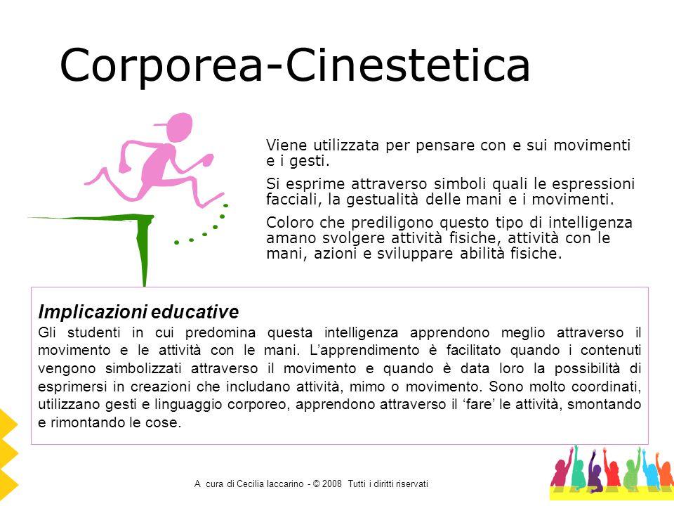A cura di Cecilia Iaccarino - © 2008 Tutti i diritti riservati Corporea-Cinestetica Viene utilizzata per pensare con e sui movimenti e i gesti. Si esp