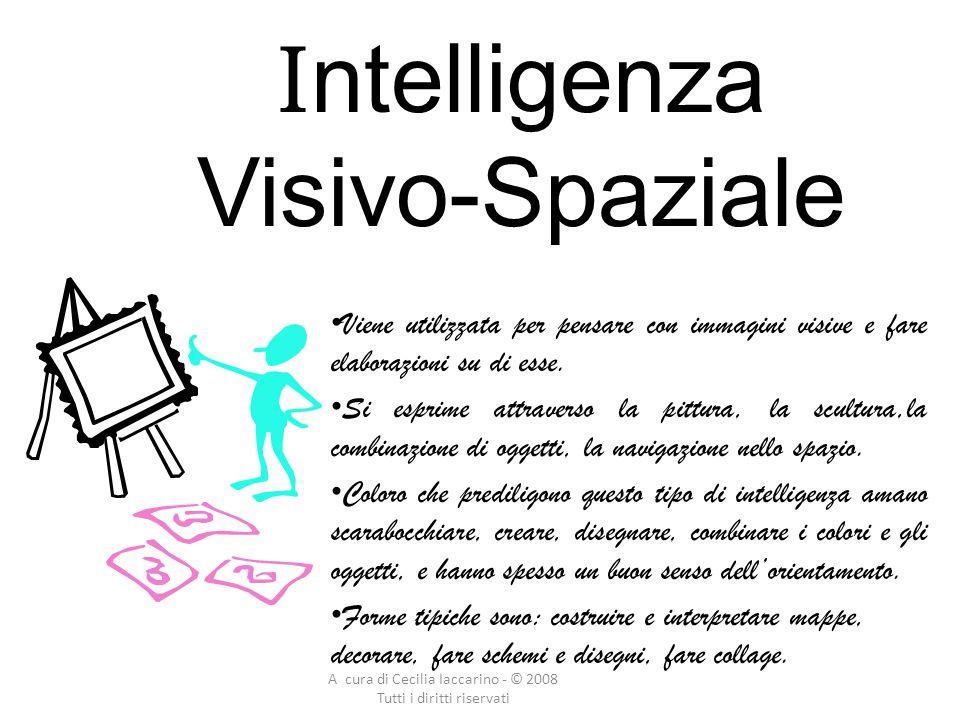 A cura di Cecilia Iaccarino - © 2008 Tutti i diritti riservati I ntelligenza Visivo-Spaziale Viene utilizzata per pensare con immagini visive e fare elaborazioni su di esse.