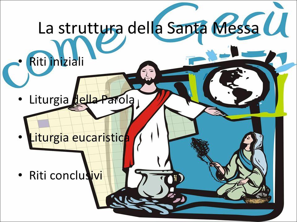 La struttura della Santa Messa Riti iniziali Liturgia della Parola Liturgia eucaristica Riti conclusivi