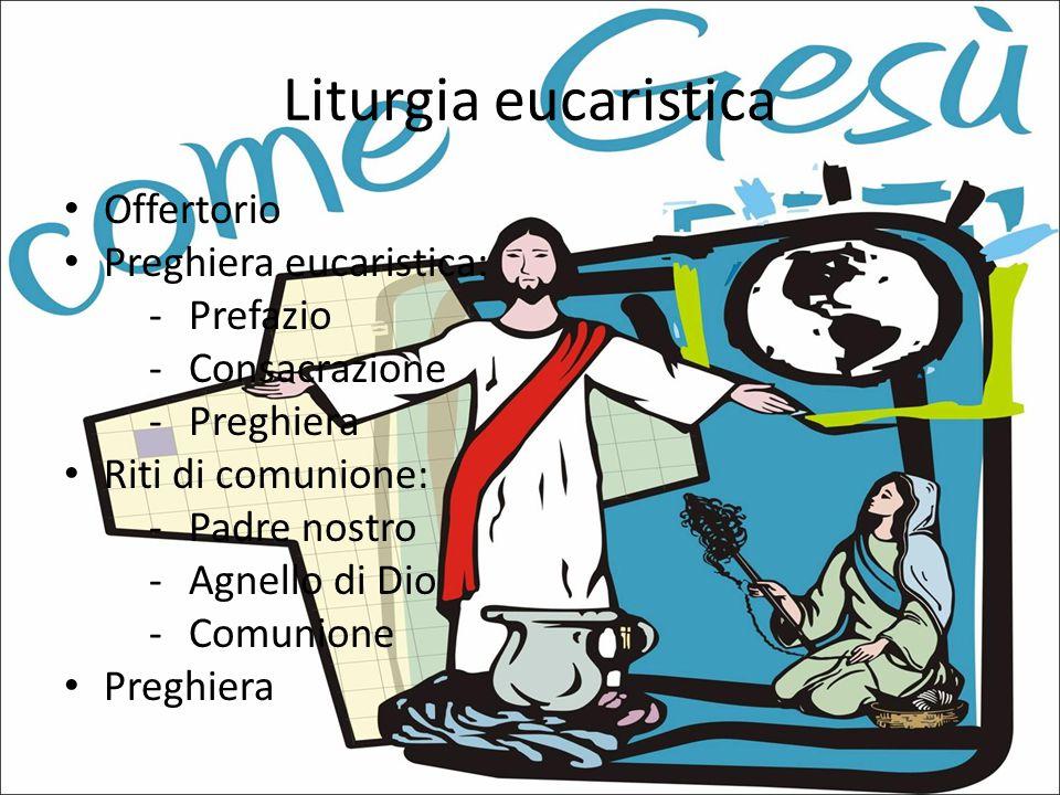 Liturgia eucaristica Offertorio Preghiera eucaristica: -P-Prefazio -C-Consacrazione -P-Preghiera Riti di comunione: -P-Padre nostro -A-Agnello di Dio