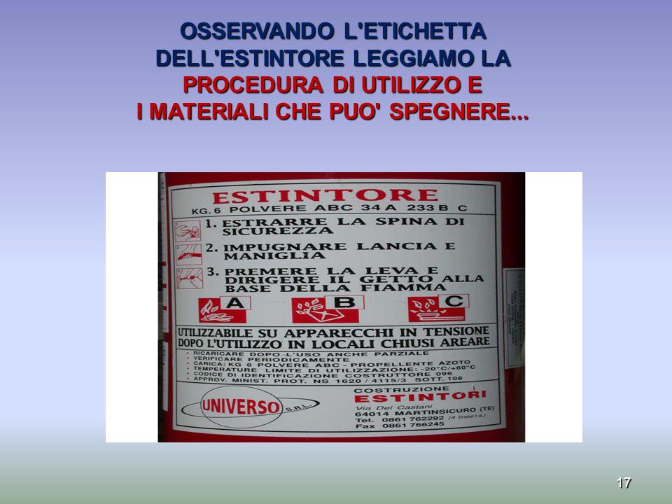 17 OSSERVANDO L'ETICHETTA DELL'ESTINTORE LEGGIAMO LA PROCEDURA DI UTILIZZO E I MATERIALI CHE PUO' SPEGNERE...