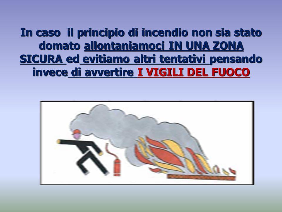 In caso il principio di incendio non sia stato domato allontaniamoci IN UNA ZONA SICURA ed evitiamo altri tentativi pensando invece di avvertire I VIG