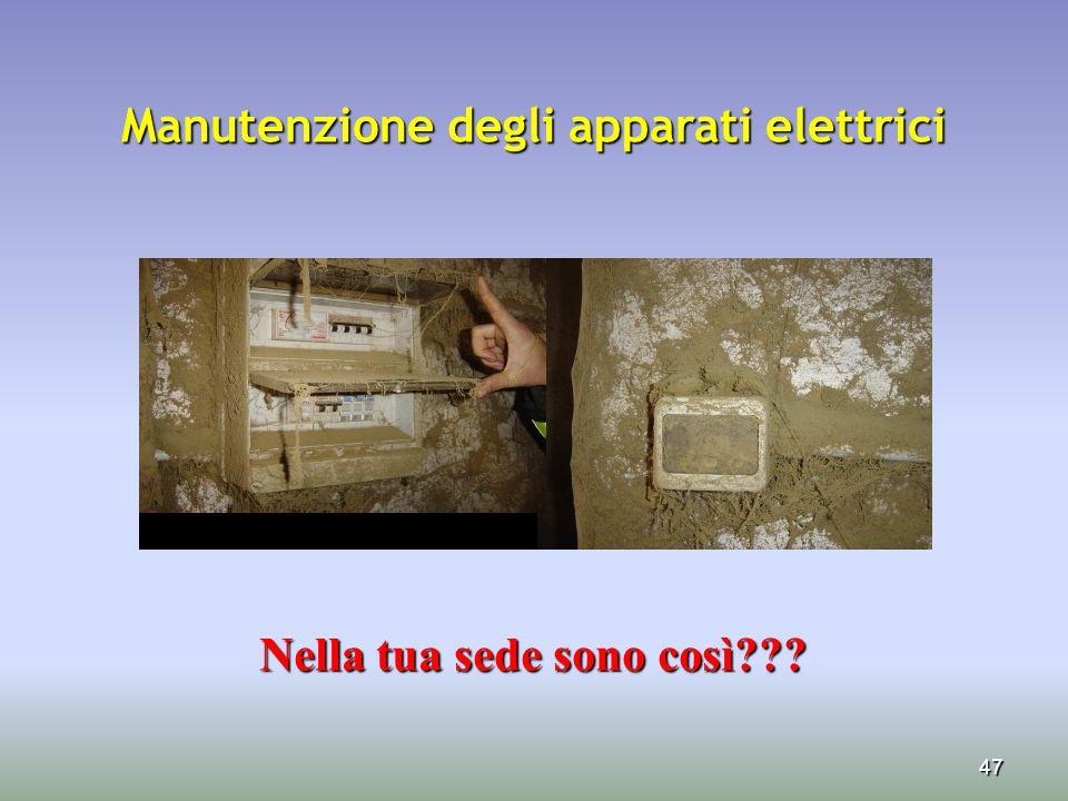 47 Manutenzione degli apparati elettrici Nella tua sede sono così??? Nella tua sede sono così???
