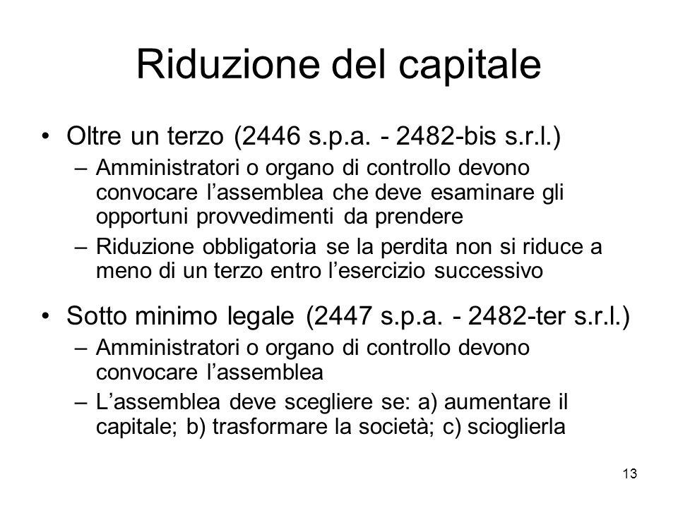 13 Riduzione del capitale Oltre un terzo (2446 s.p.a. - 2482-bis s.r.l.) –Amministratori o organo di controllo devono convocare l'assemblea che deve e