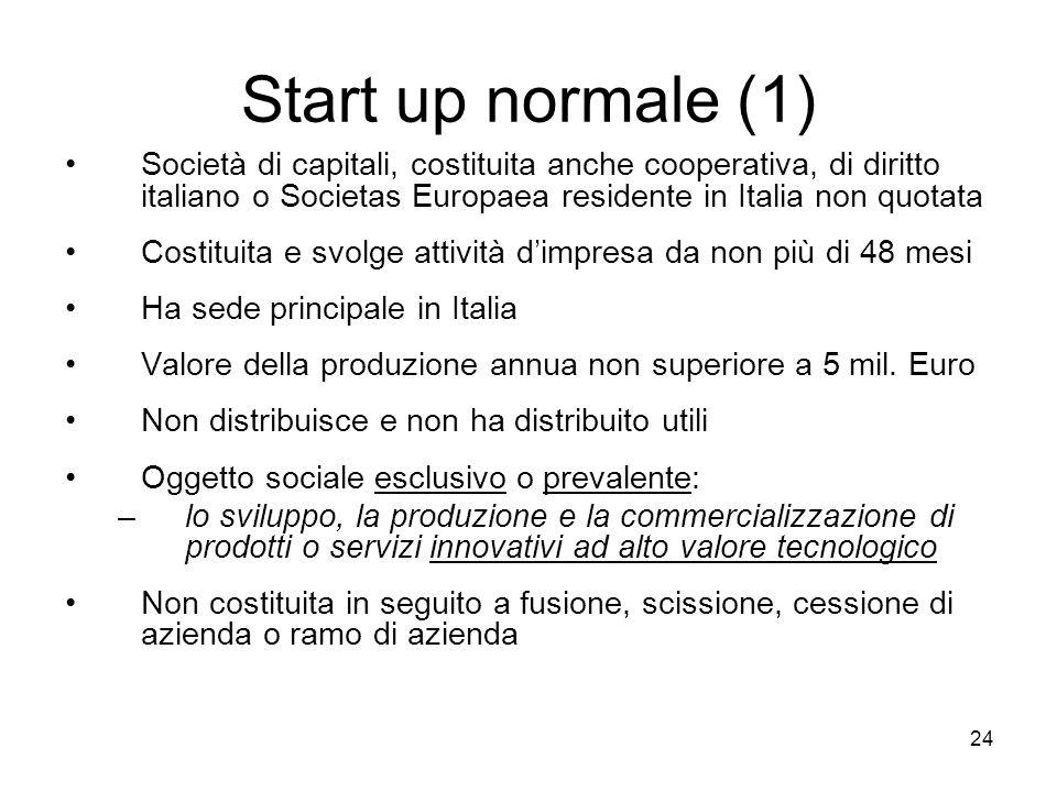 24 Start up normale (1) Società di capitali, costituita anche cooperativa, di diritto italiano o Societas Europaea residente in Italia non quotata Cos