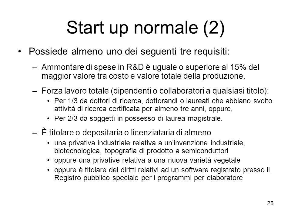 25 Start up normale (2) Possiede almeno uno dei seguenti tre requisiti: –Ammontare di spese in R&D è uguale o superiore al 15% del maggior valore tra