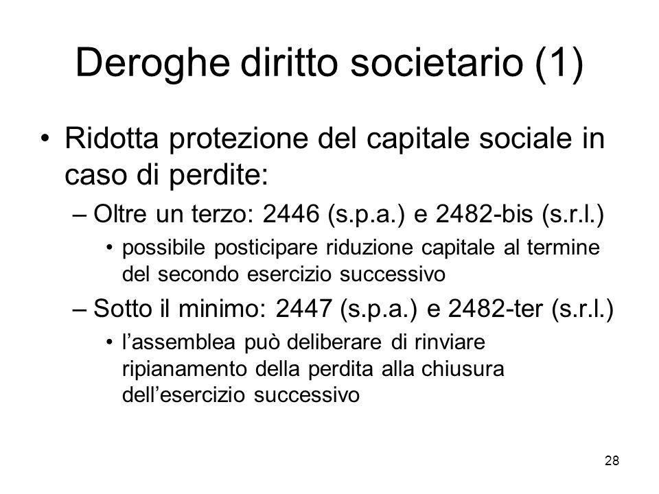 28 Deroghe diritto societario (1) Ridotta protezione del capitale sociale in caso di perdite: –Oltre un terzo: 2446 (s.p.a.) e 2482-bis (s.r.l.) possi
