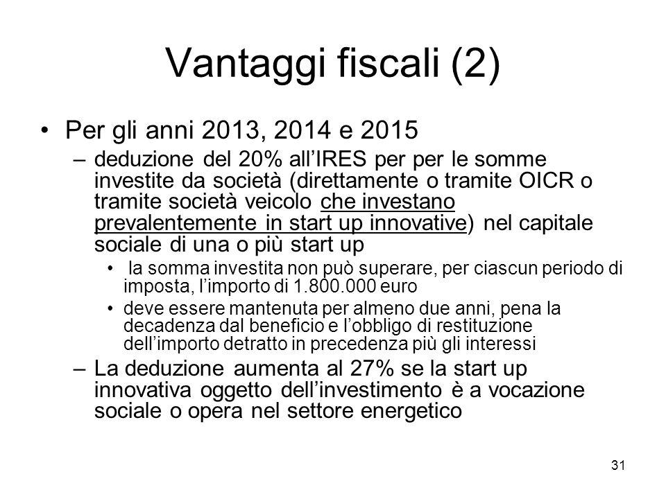 31 Vantaggi fiscali (2) Per gli anni 2013, 2014 e 2015 –deduzione del 20% all'IRES per per le somme investite da società (direttamente o tramite OICR